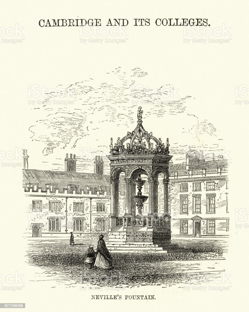 Neville's fountain, Cambridge, 19th Century vector art illustration