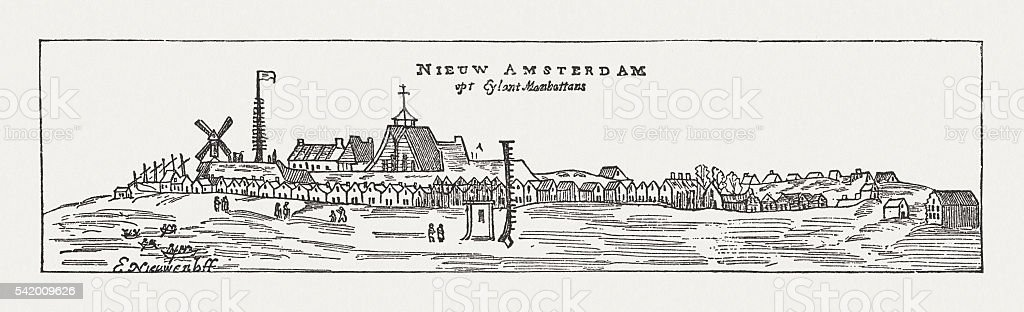 New Amsterdam (New York), Manhatten, 17th century, published in 1884 vector art illustration