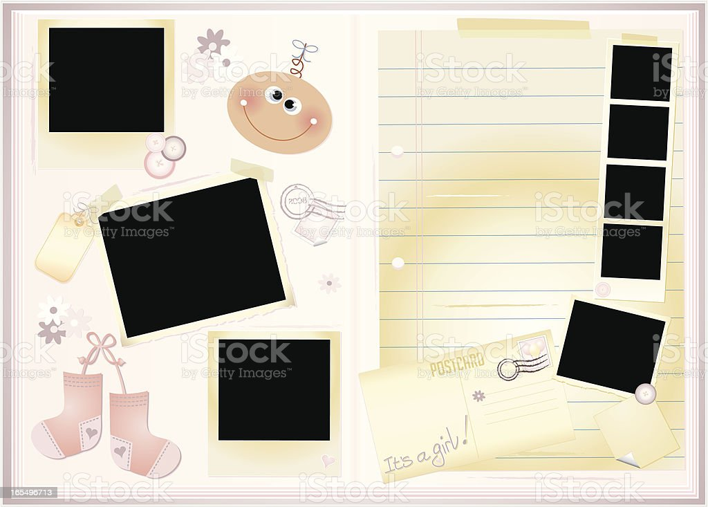New Baby Girl Memory Book royalty-free stock vector art