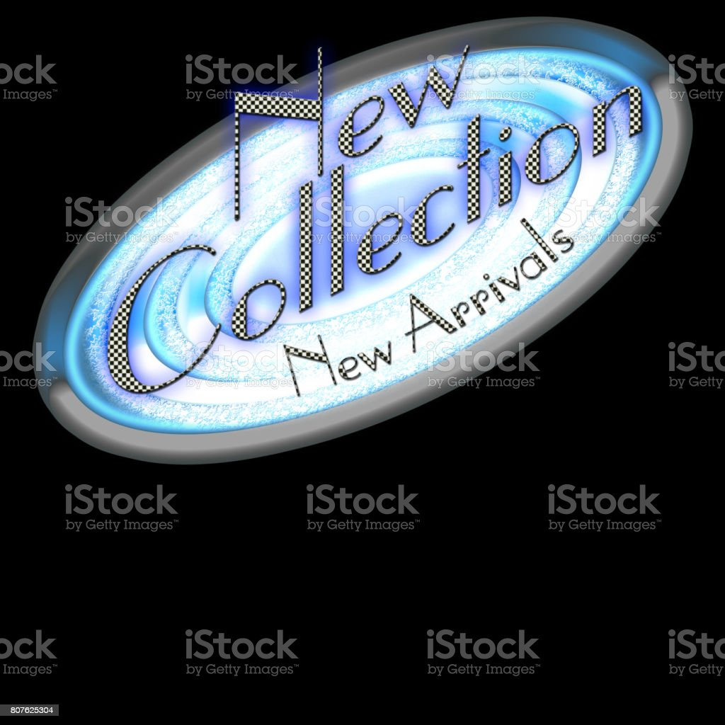 New Collection, New Arrivals, modern design in blue and black and white colors. Isolated against the black background. vector art illustration