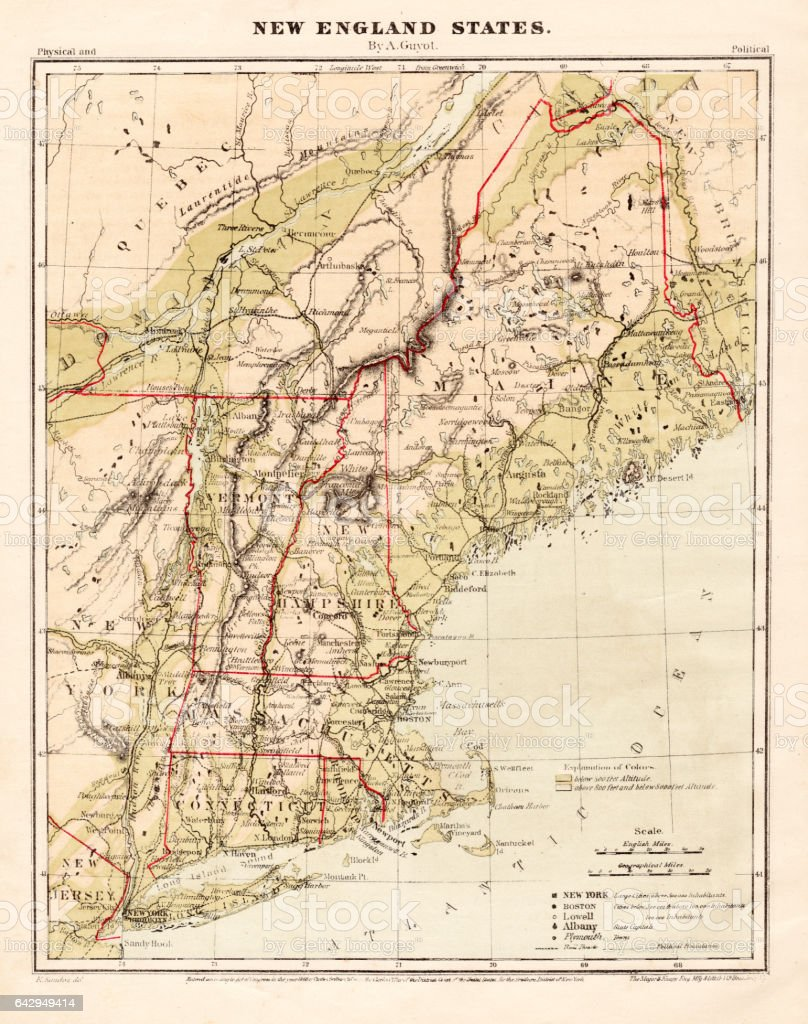 New England states map 1867 vector art illustration
