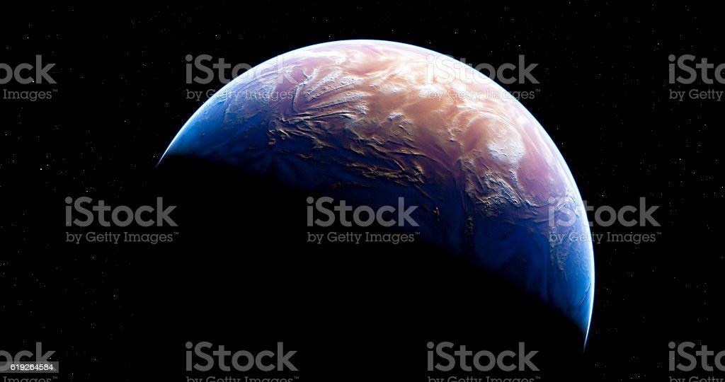 New Fiction Blue Planet vector art illustration