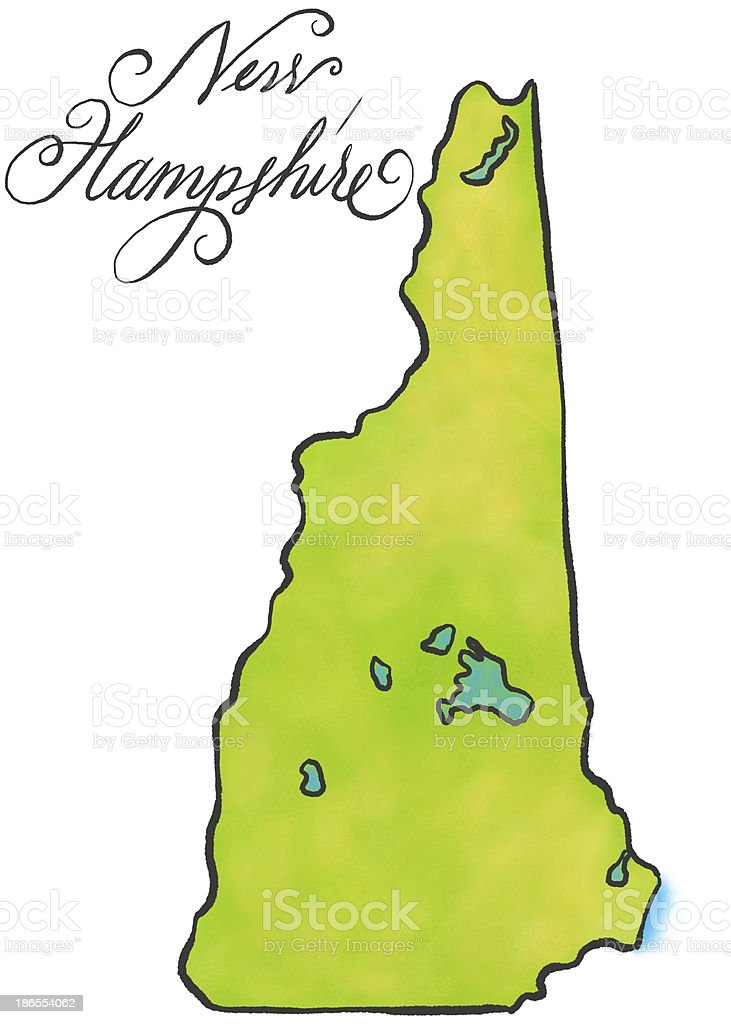 New Hampshire map vector art illustration