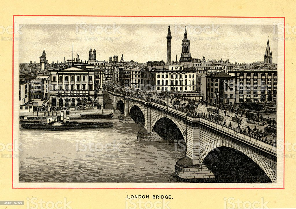 New London Bridge in the late 19th century vector art illustration