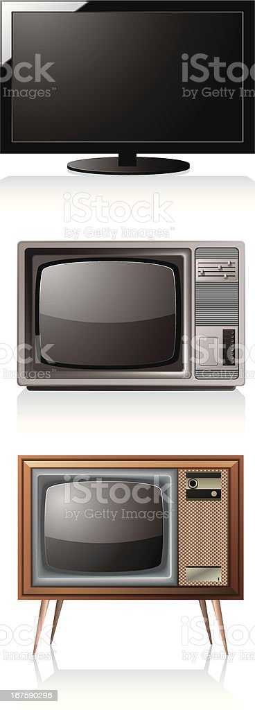 New, old, and older TVs vector art illustration