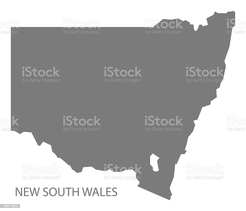 New South Wales Australia Map grey vector art illustration