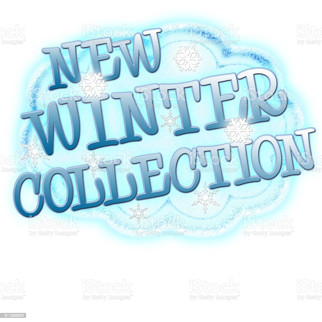 New Winter Collection, snow cloud with snow flakes and text, Isolated against a white background. vector art illustration