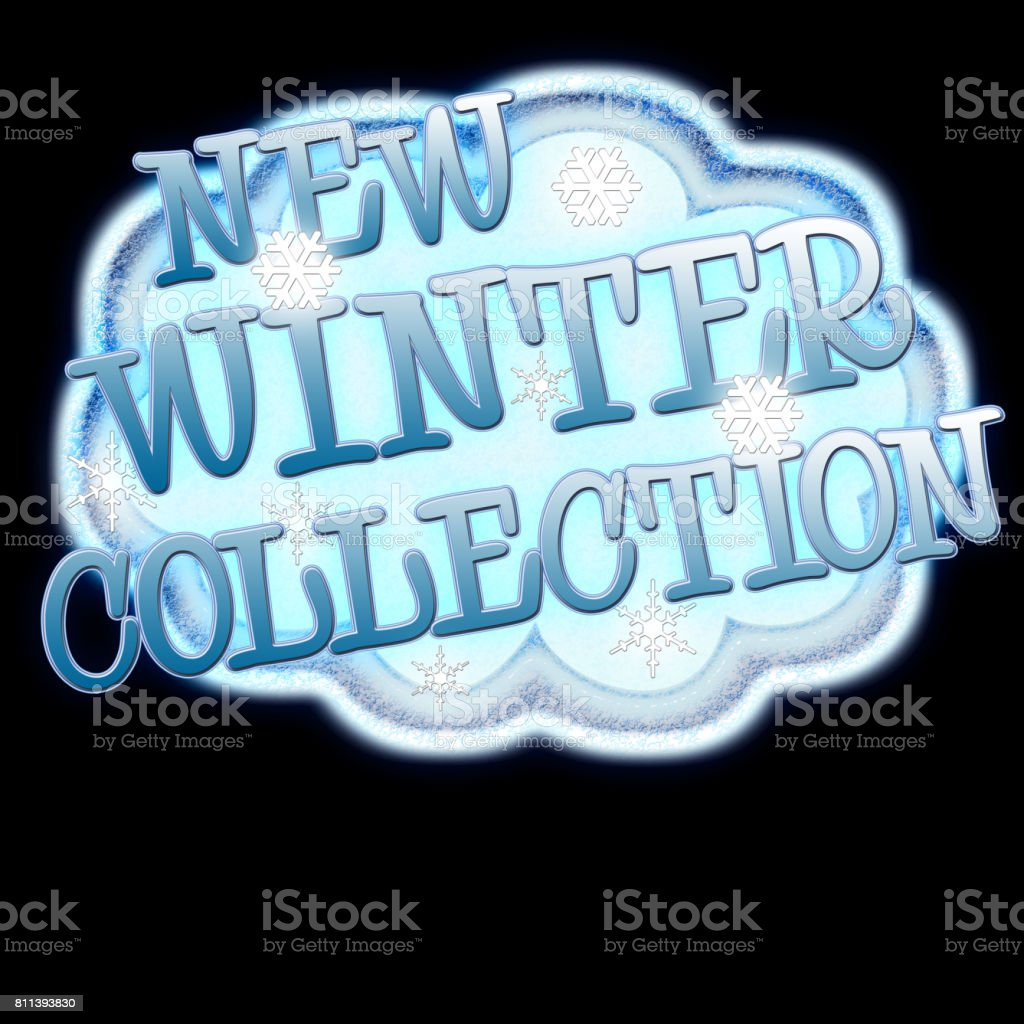 New Winter Collection, snow cloud with snow flakes and text, Isolated against a black background. vector art illustration