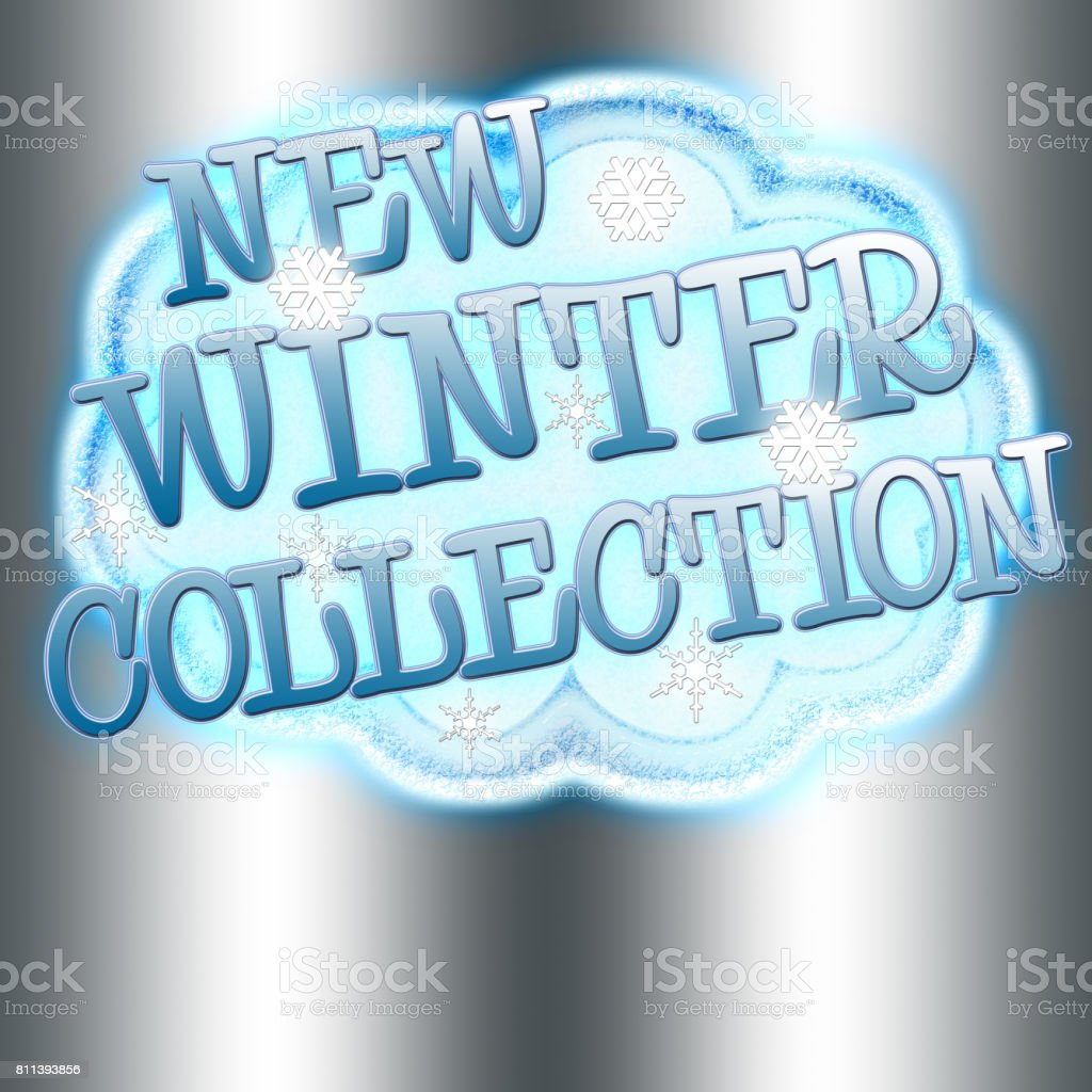 New Winter Collection, snow cloud with snow flakes and text, Isolated against a Silver background. vector art illustration