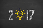 New Year 2017 Innovation Hanging Light Bulb on Chalkboard