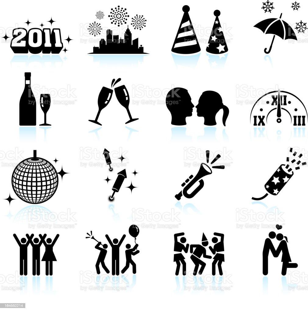 New Year celebration black & white vector icon set vector art illustration