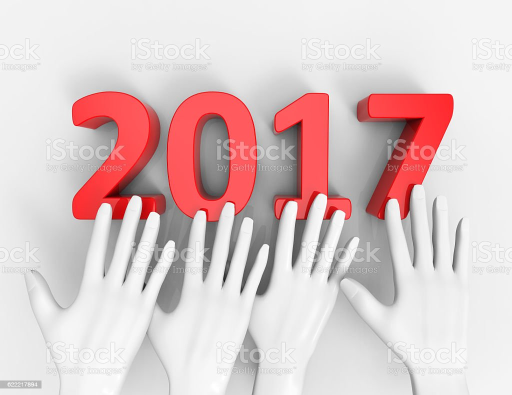 New Year concept 2017. 3D illustration vector art illustration