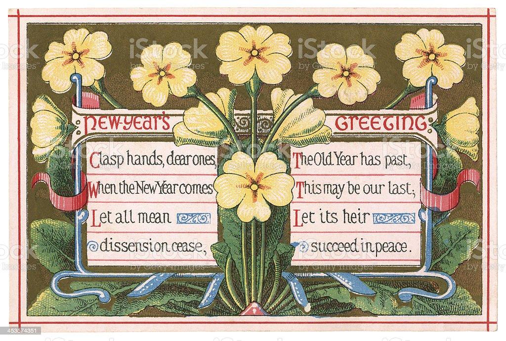 New Year greetings card, 1874 royalty-free stock vector art