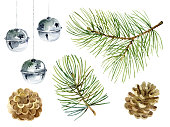 New Year set of pine branches, balls and cones