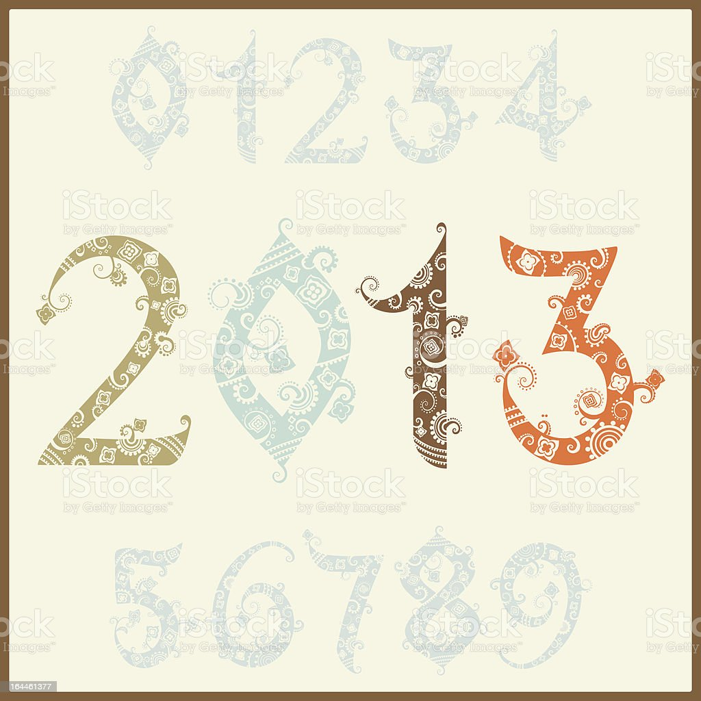New year two thousand and thirteen. Set of stylized numbers vector art illustration