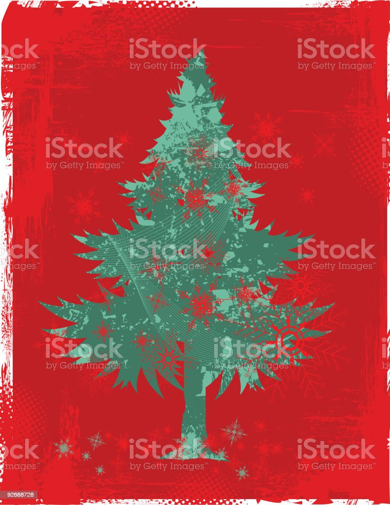 New Year/Christmas Tree with Snowflakes royalty-free stock vector art