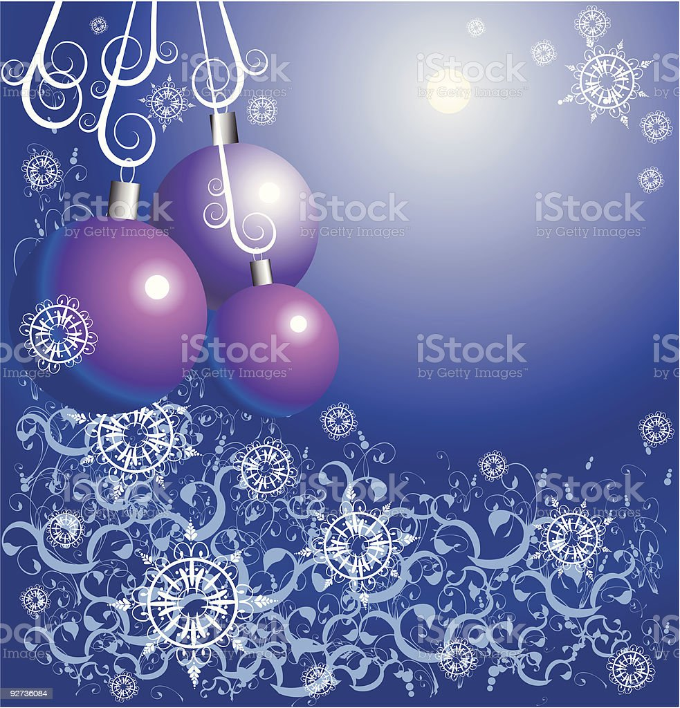 New Year's toys among snowflakes and a flower ornament royalty-free stock vector art