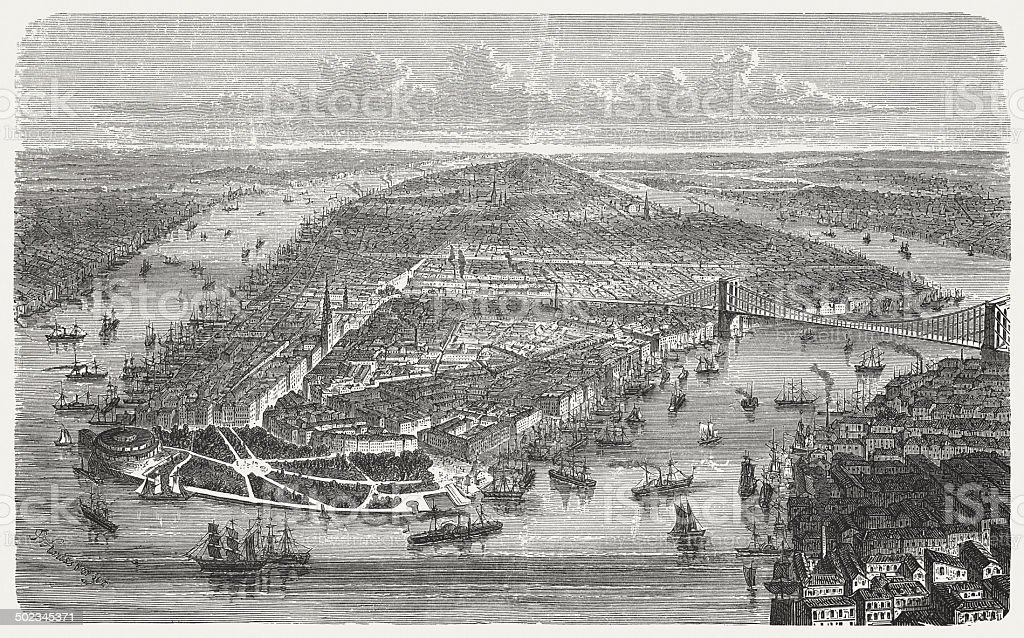 New York City, Manhattan, 19th century, wood engraving, published 1880 vector art illustration