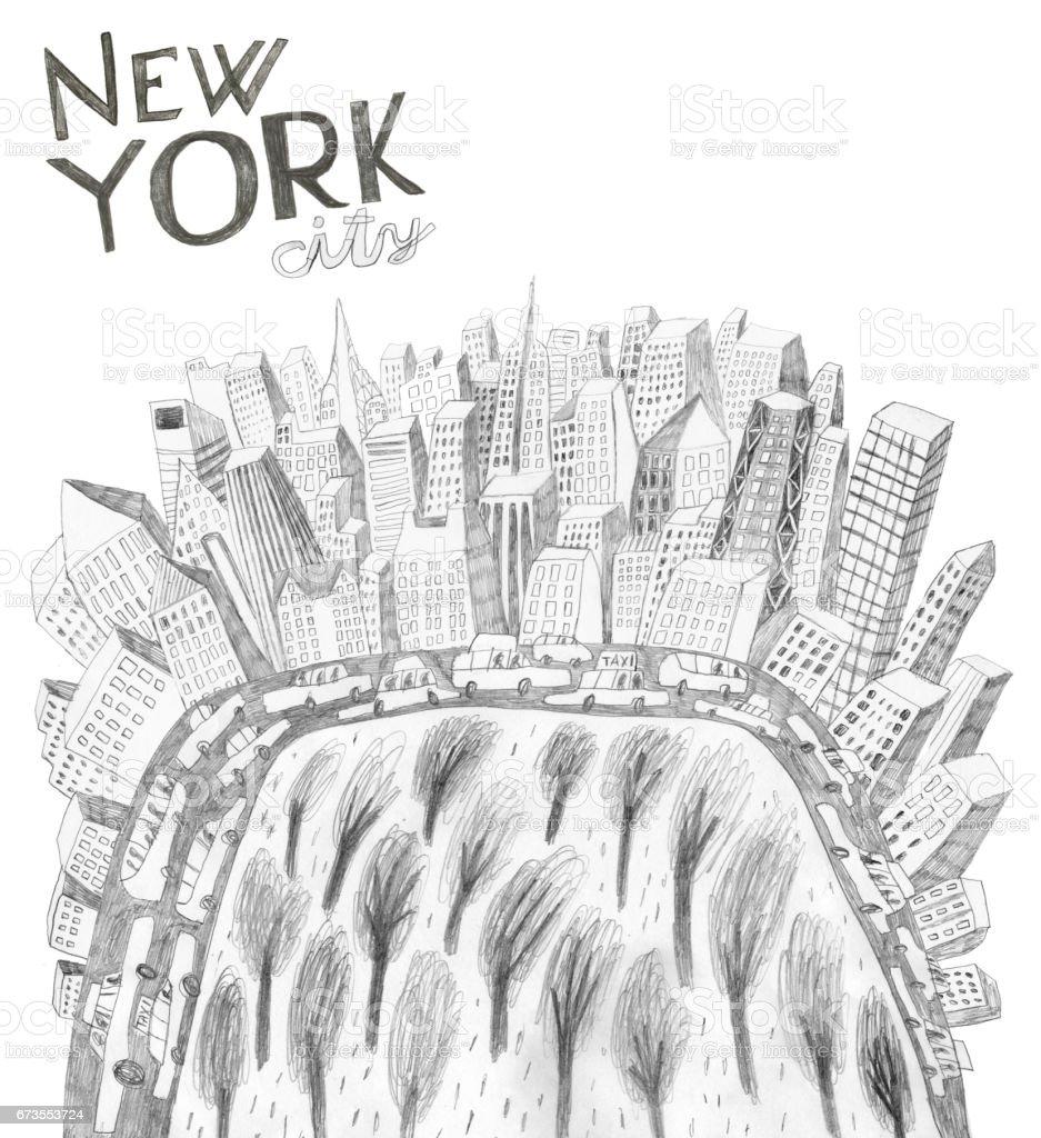New York City USA vector art illustration