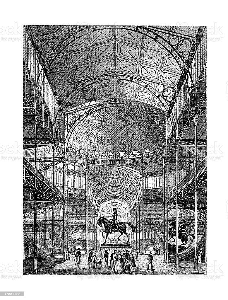 New York Crystal Palace Interior, USA | Antique Architectural Illustrations vector art illustration