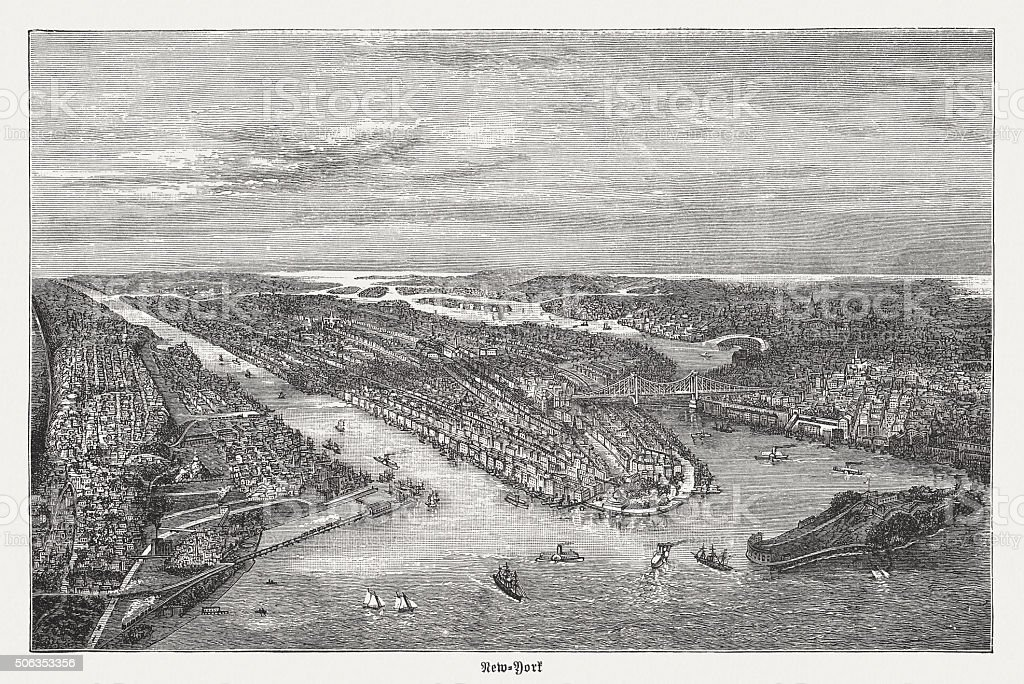 New York in the 19th century, wood engraving, published 1882 vector art illustration