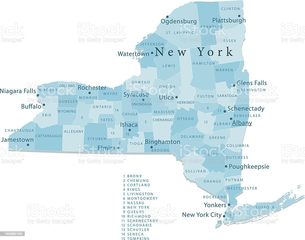 New York State Vector Map Regions Isolated vector art illustration