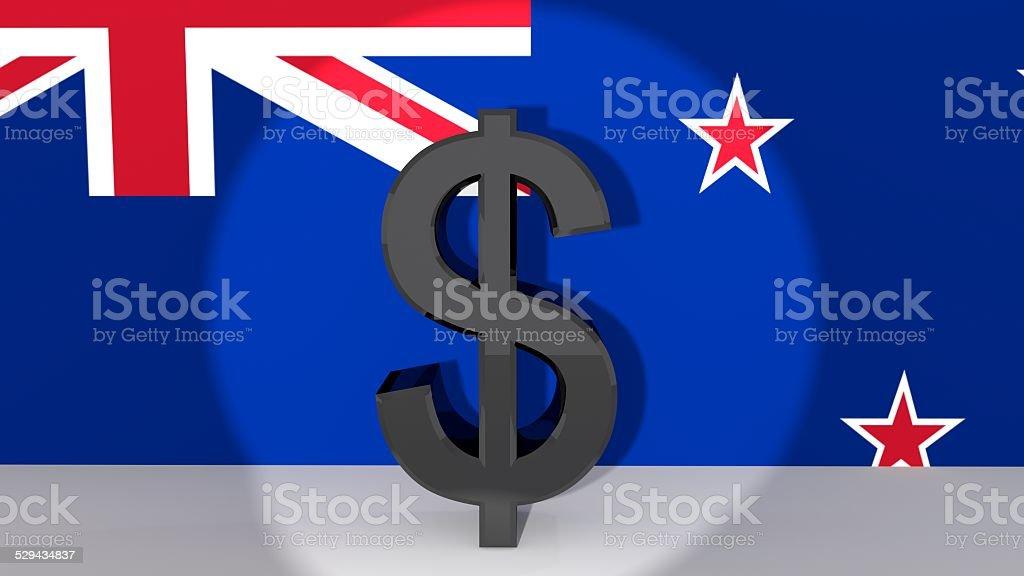 New Zealand Dollar in Spotlight vector art illustration
