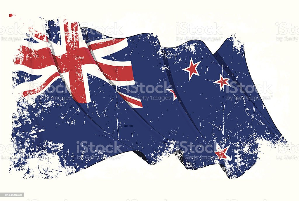 New Zealand Flag Grunge vector art illustration