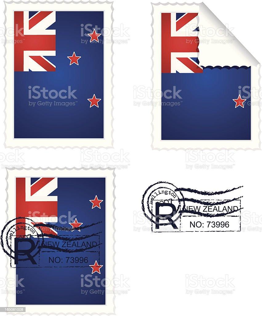 New Zealand Flag Stamp Set royalty-free stock vector art