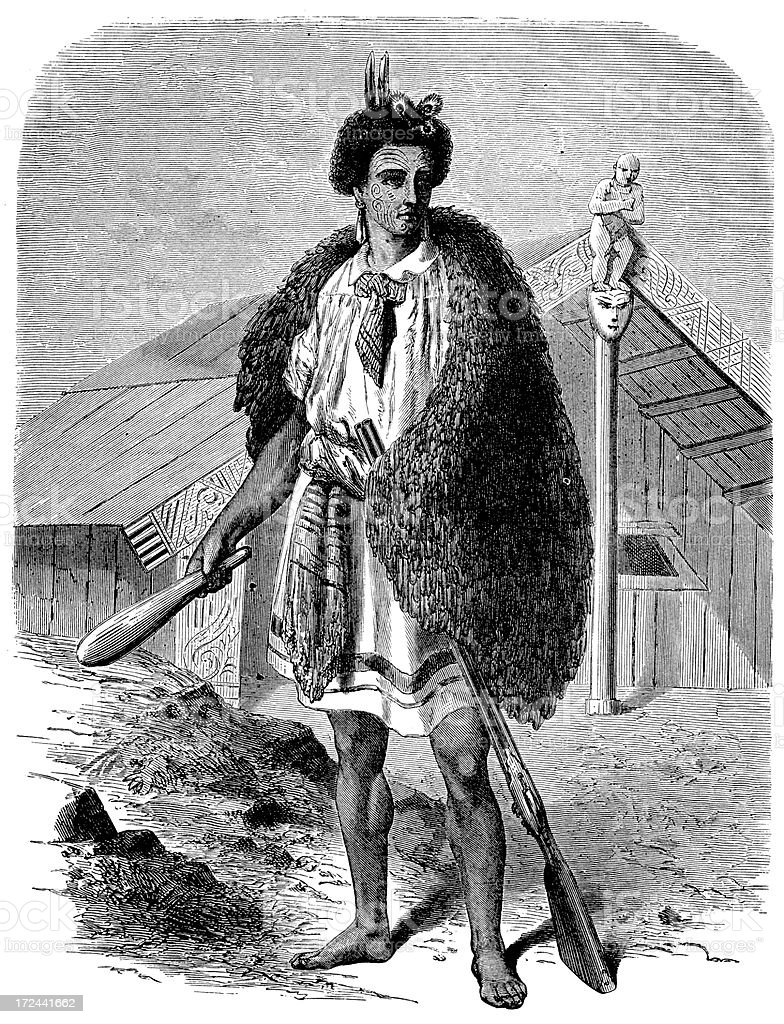 New Zealand maori people royalty-free stock vector art