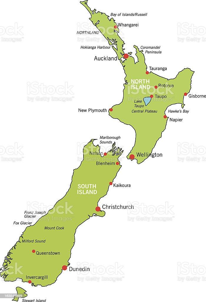 New Zealand Map royalty-free stock vector art