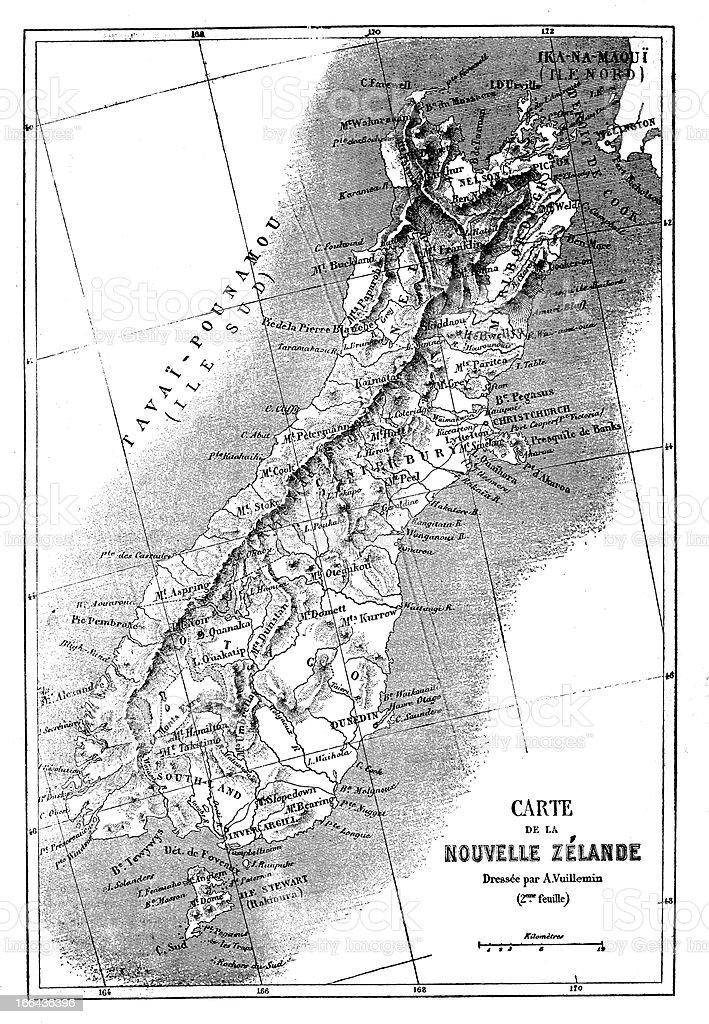 New Zealand South Island (Te Wai Pounamu) antique map (French) vector art illustration