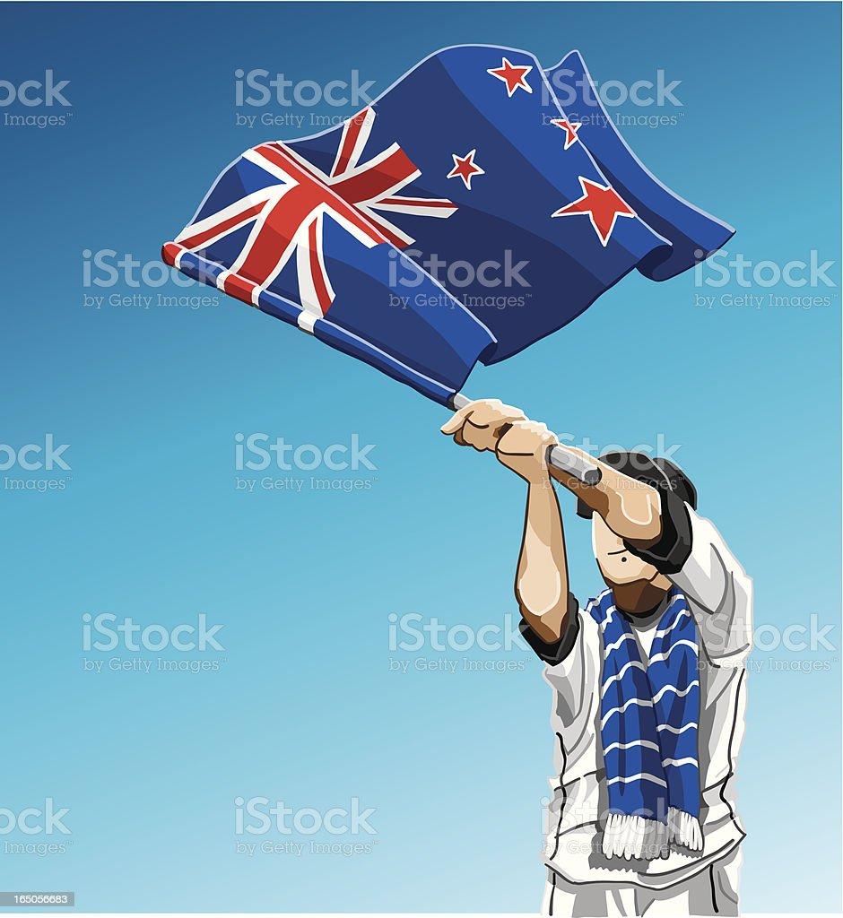 New Zealand Waving Flag Soccer Fan royalty-free stock vector art