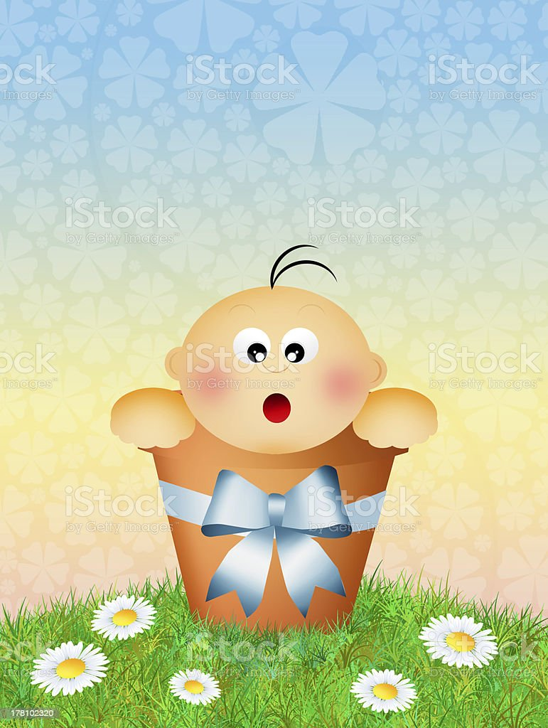 newborn baby vector art illustration