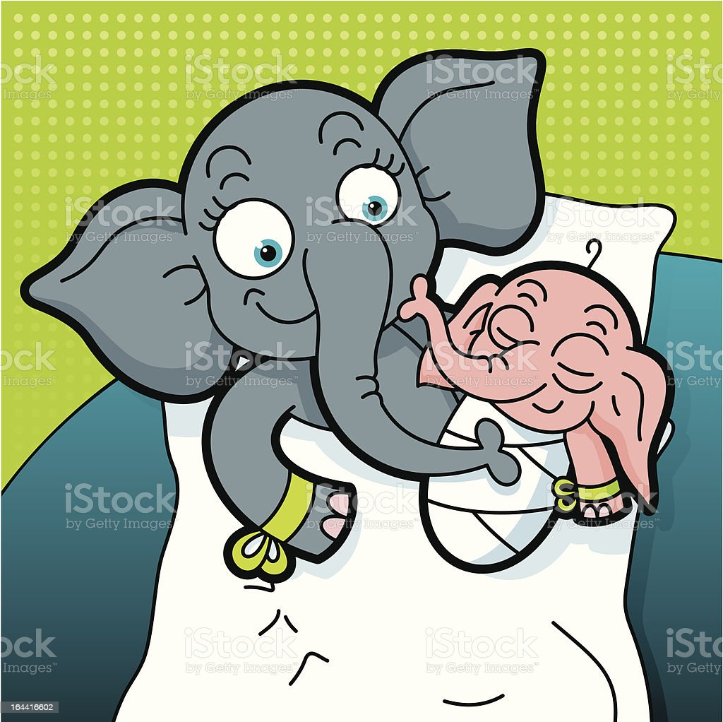 Newborn elephant baby royalty-free stock vector art