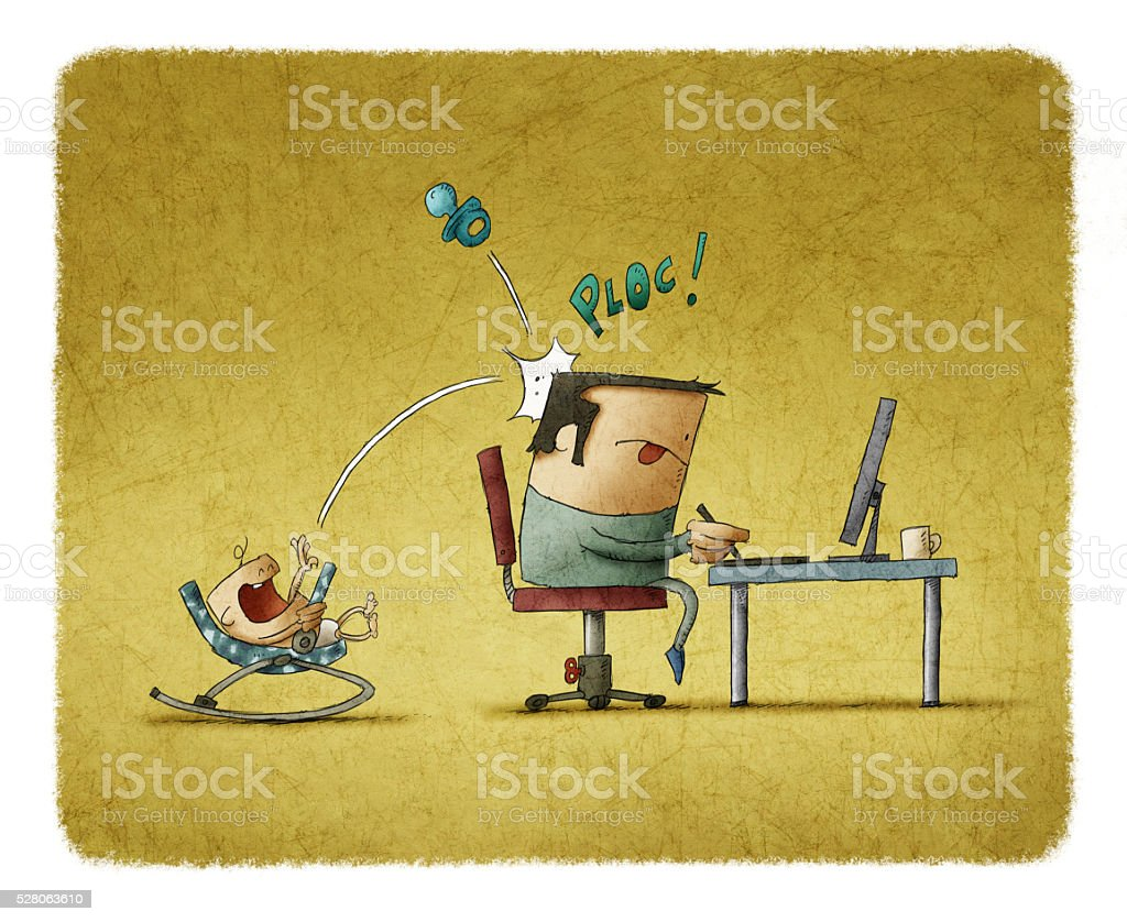 newborn in swings disturbing father while he working on computer vector art illustration