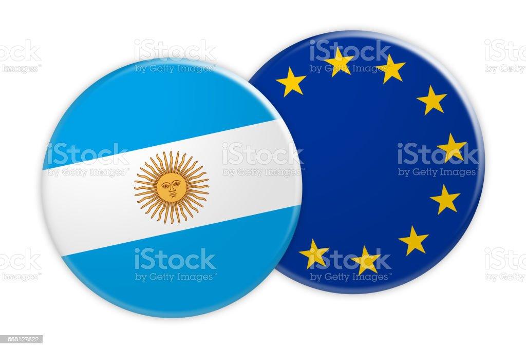 News Concept: Argentina Flag Button On EU Flag Button, 3d illustration on white background vector art illustration