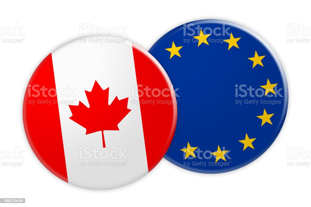News Concept: Canada Flag Button On EU Flag Button, 3d illustration on white background vector art illustration