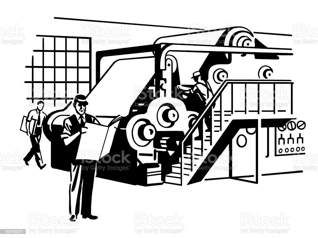 Newspaper Printing Press royalty-free stock vector art