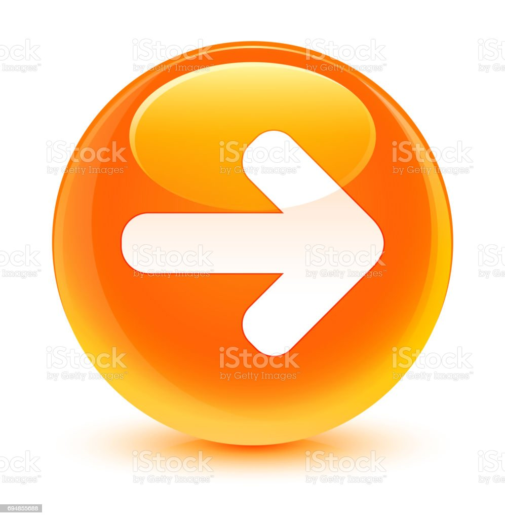 Next arrow icon glassy orange round button vector art illustration