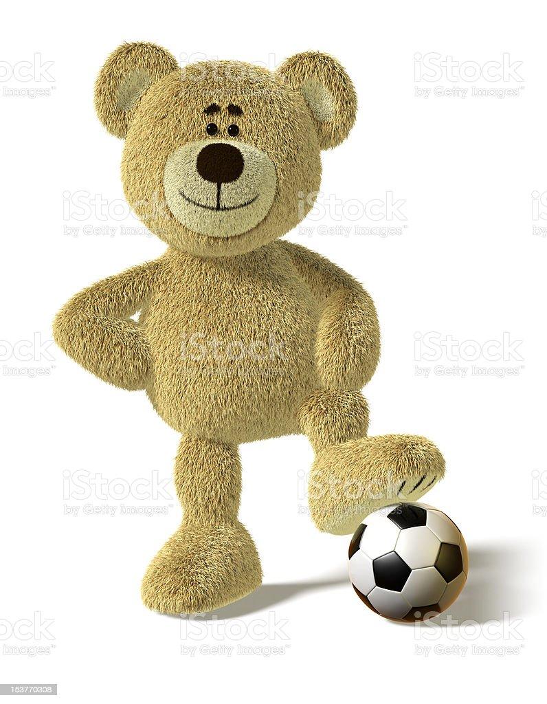 Nhi Bear - Foot on a Soccer Ball royalty-free stock vector art