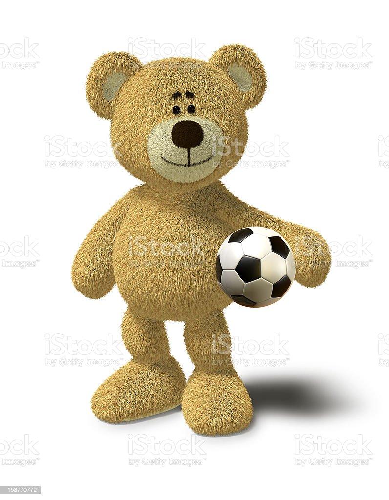 Nhi Bear holds a soccer ball royalty-free stock vector art