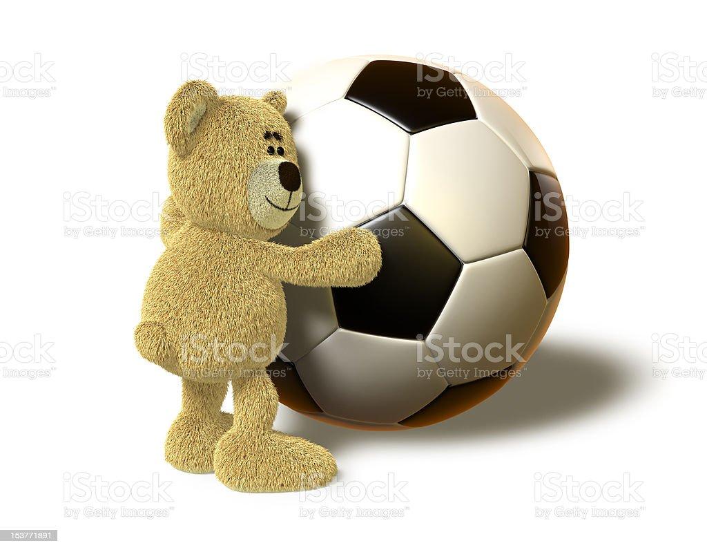 Nhi Bear hugs a big Soccer Ball royalty-free stock vector art