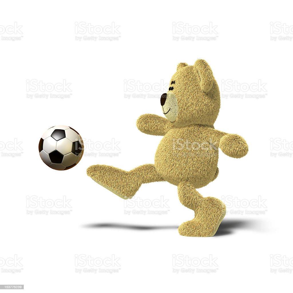 Nhi Bear kicking a soccer ball, Side royalty-free stock vector art