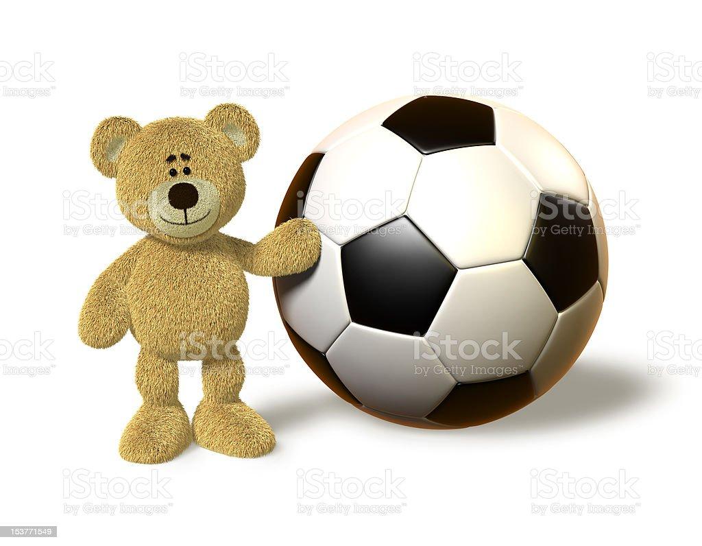 Nhi Bear next to a huge Soccer Ball royalty-free stock vector art