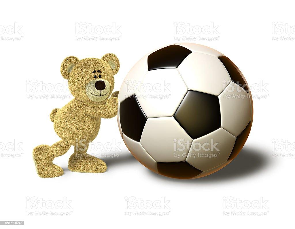 Nhi Bear pushes a big Soccer Ball royalty-free stock vector art