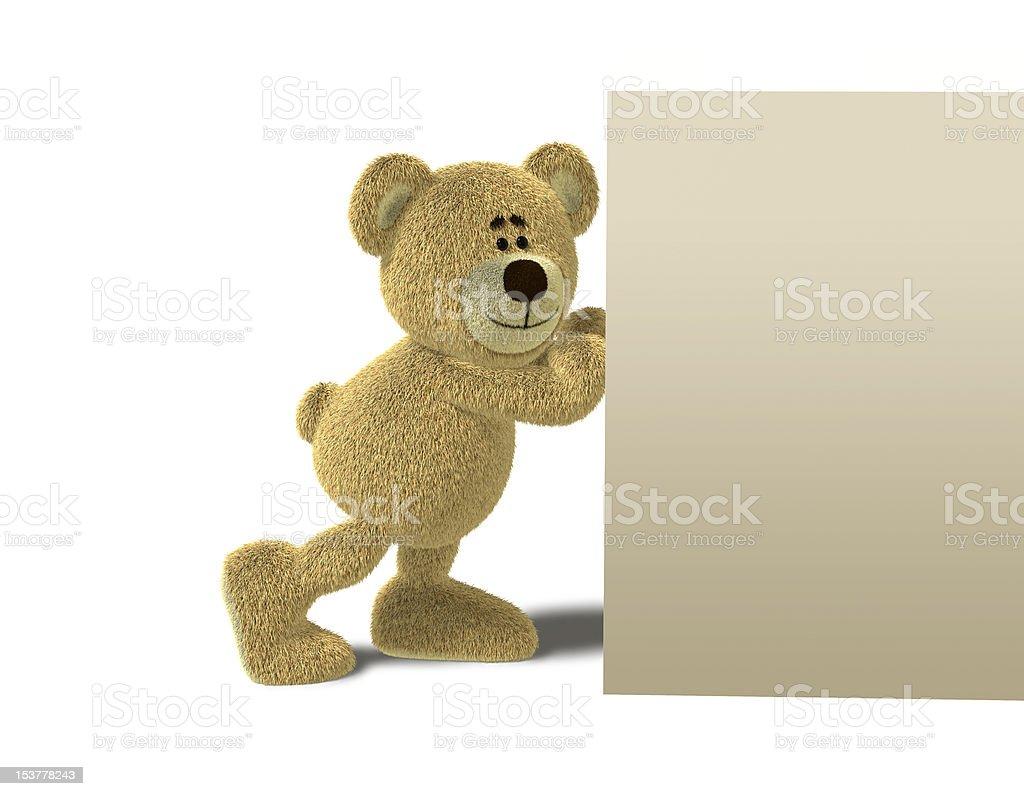 Nhi Bear pushing a Wall royalty-free stock vector art