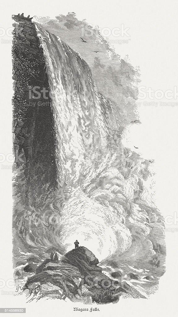 Niagara Falls, American side, New York, USA, published in 1880 vector art illustration