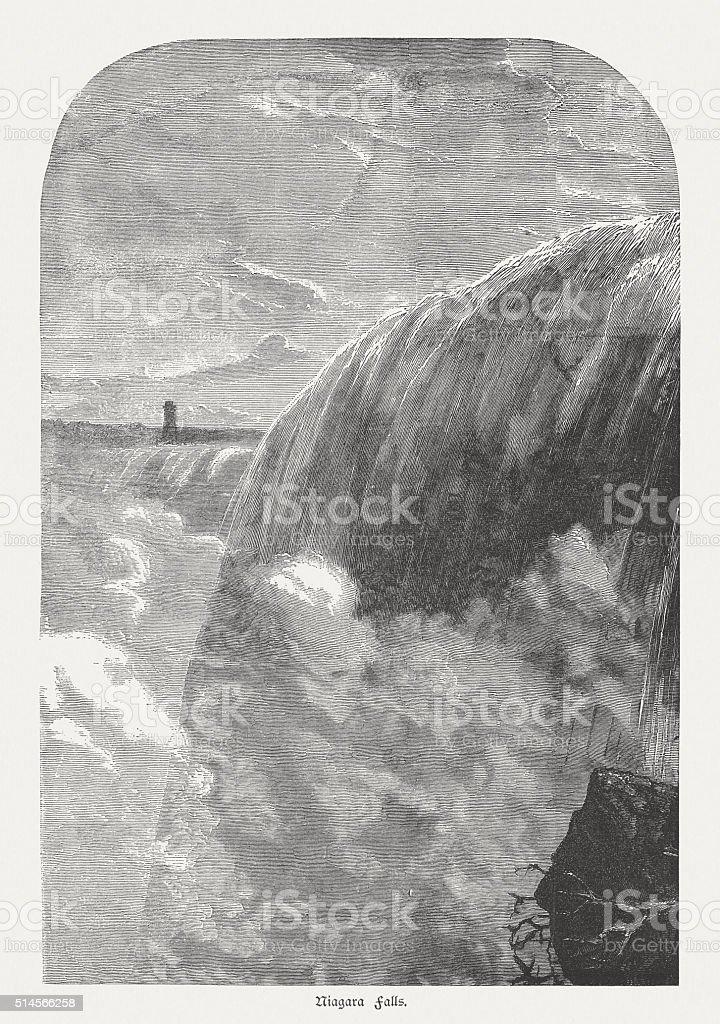 Niagara Falls, Canadian side, Ontario, Canada, wood engraving, pubölished 1880 vector art illustration