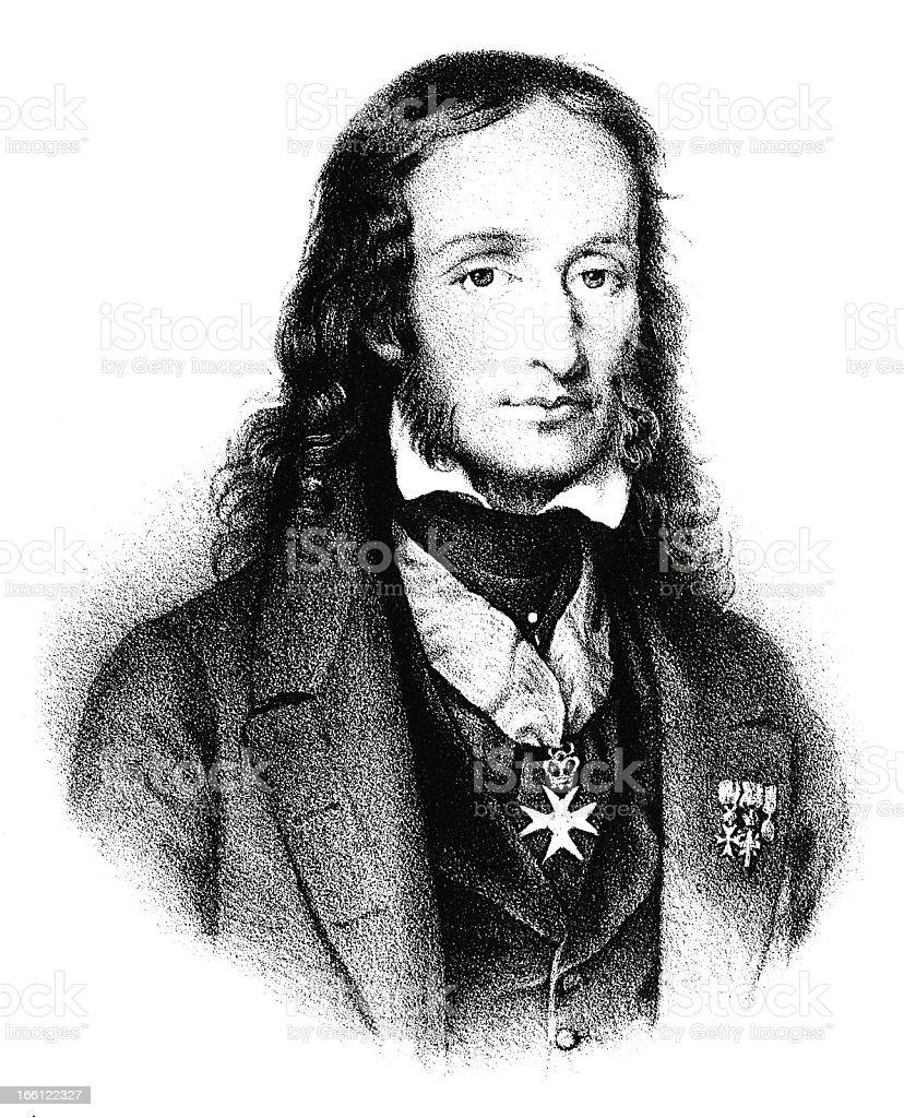Niccolò Paganini - Antique Engraved Portrait vector art illustration